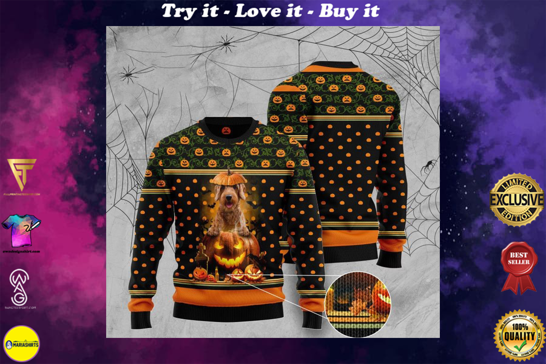 [special edition] halloween goldendoodle and pumpkin full printing christmas sweater - maria