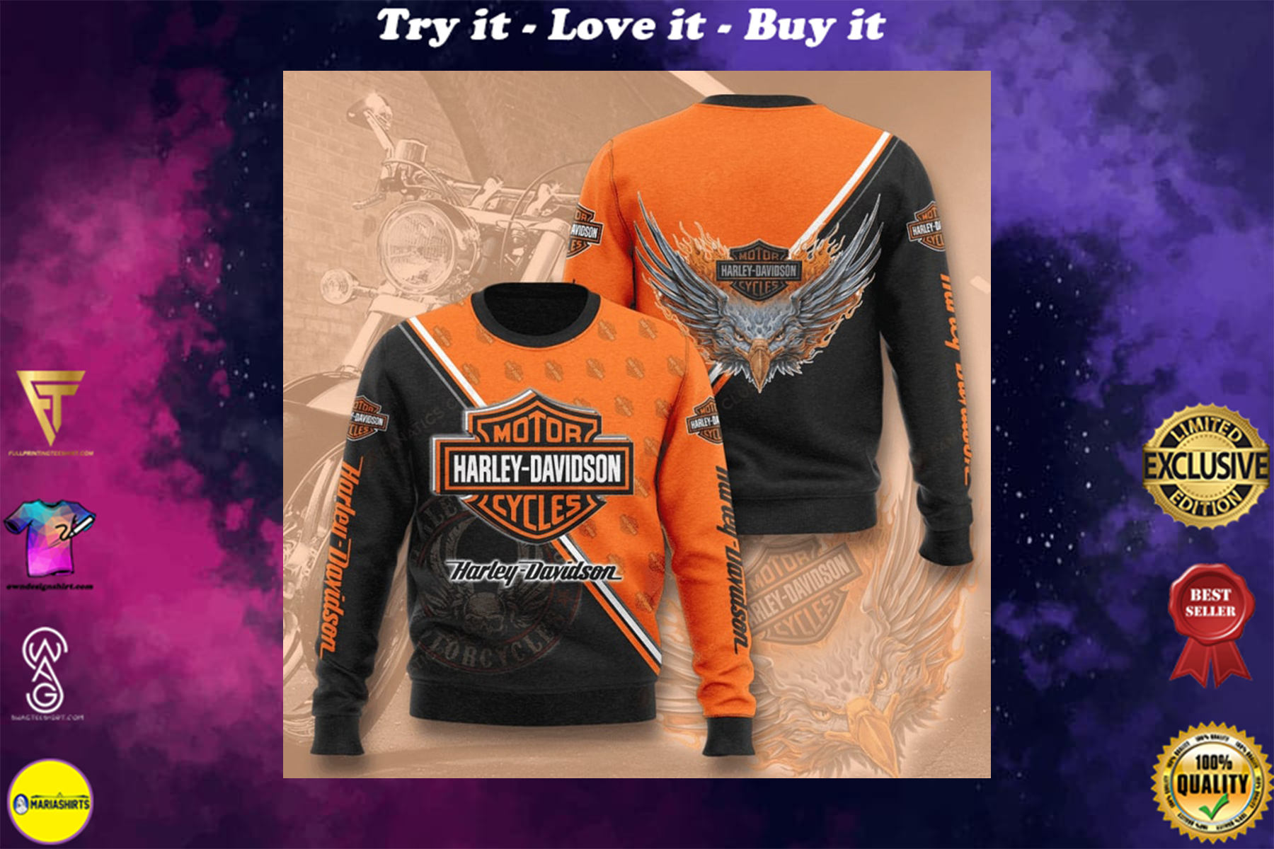 [special edition] harley-davidson motorcycles full printing ugly sweater - maria