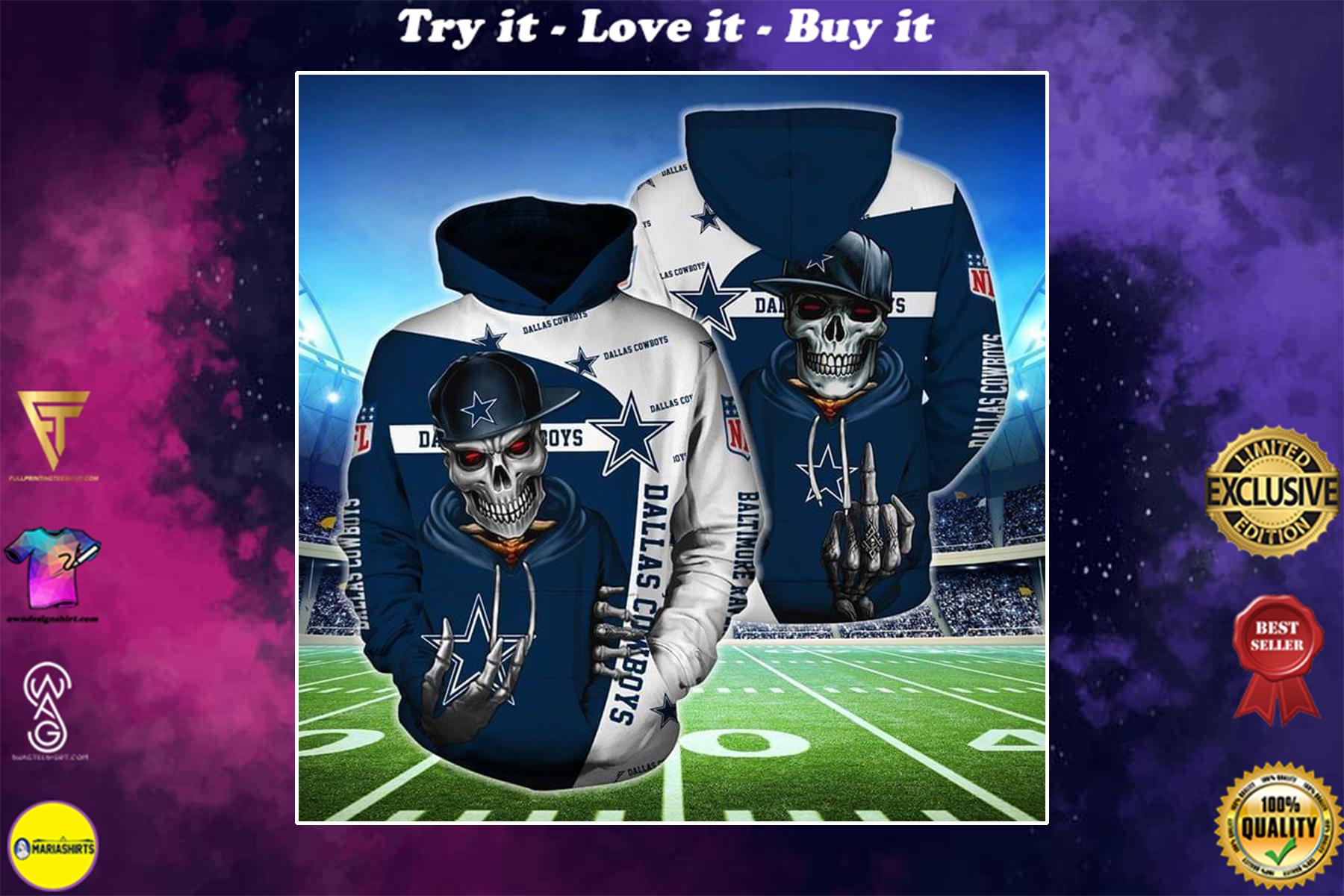 [special edition] hip hop skull dallas cowboys football team full over printed shirt - maria