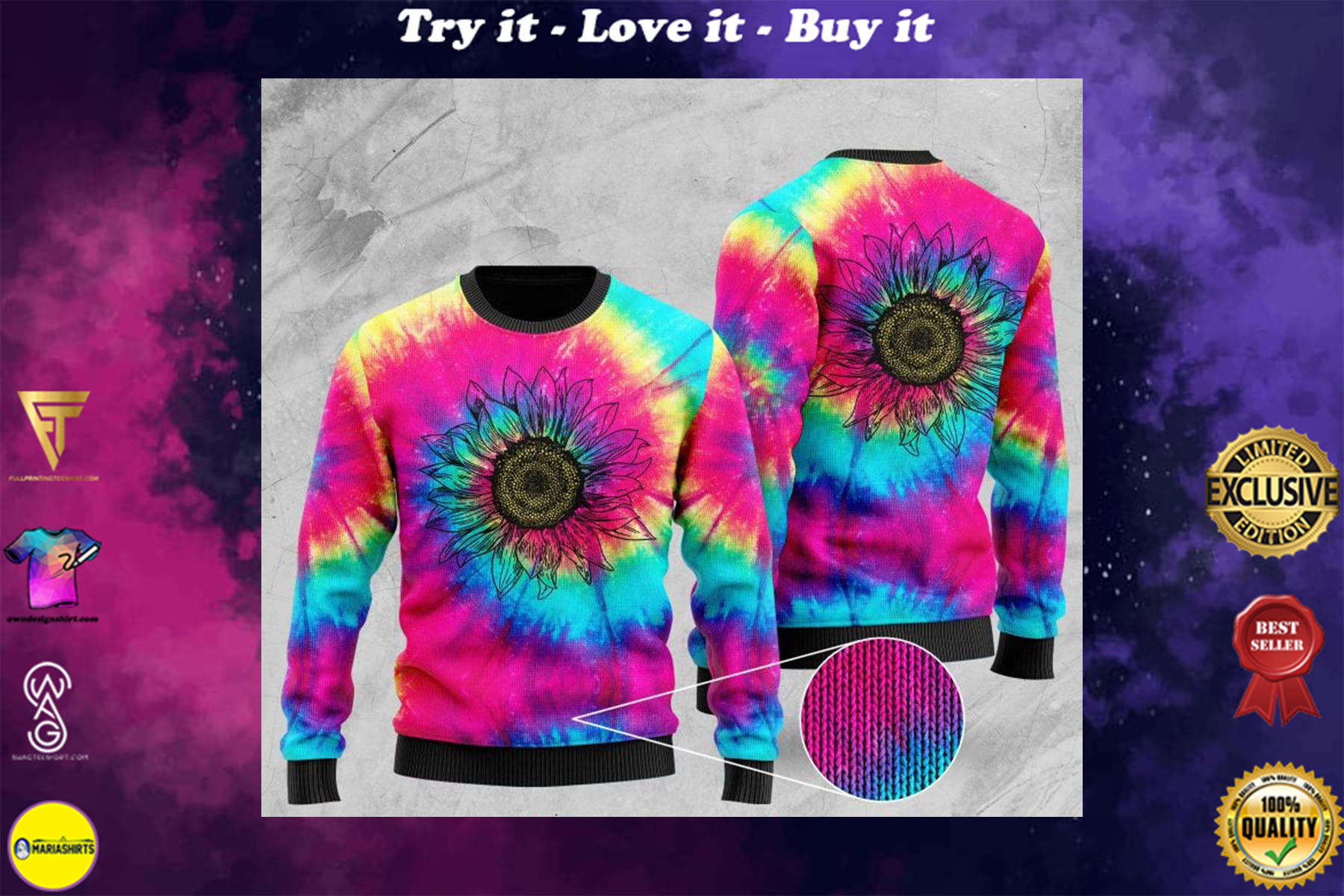 [special edition] hipppie sunflower tie-dye full printing ugly sweater - maria