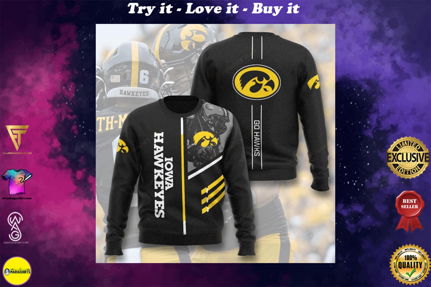 [special edition] iowa hawkeyes football go hawks full printing ugly sweater - maria