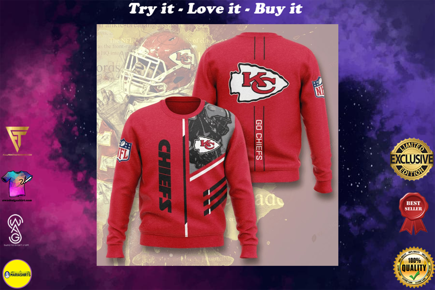[special edition] kansas city chiefs go chiefs full printing ugly sweater - maria