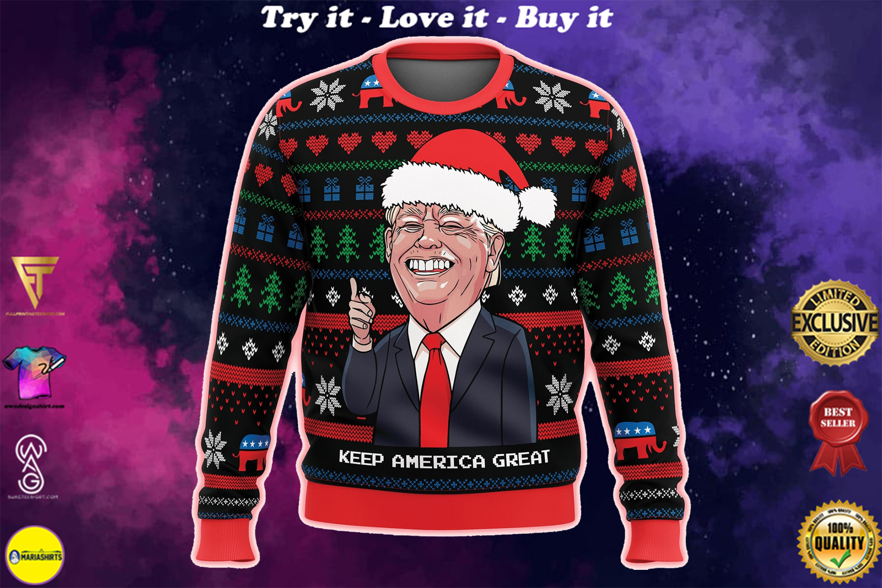 [special edition] keep america great all over printed ugly christmas sweater - maria