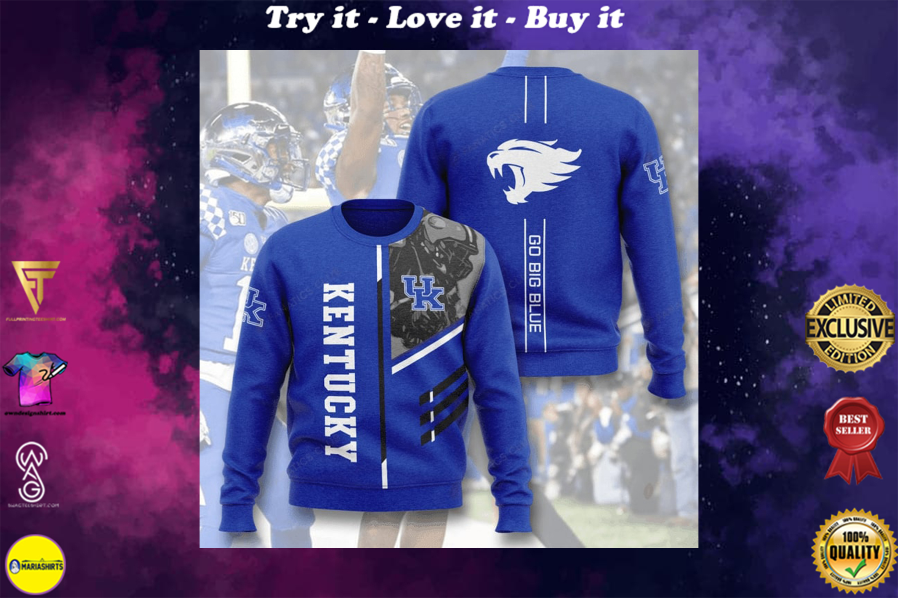 [special edition] kentucky wildcats go big blue full printing ugly sweater - maria