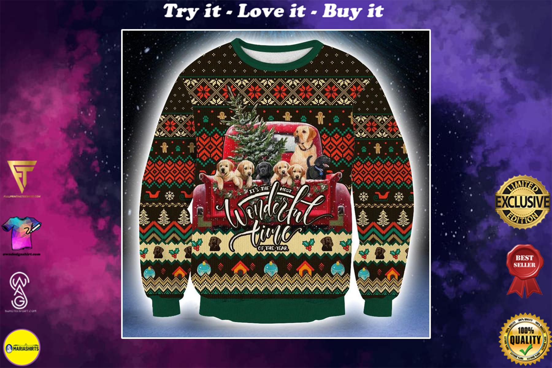 [special edition] labrador its the most wonderful time of the year christmas sweater - maria
