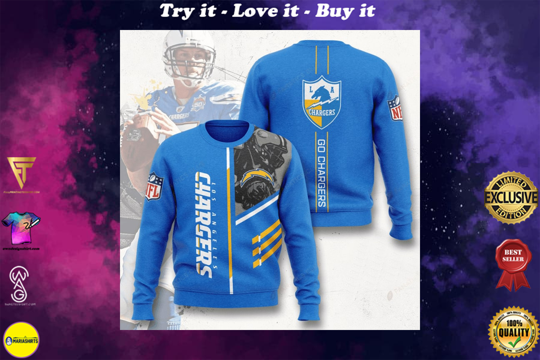 [special edition] los angeles chargers go chargers full printing ugly sweater - maria
