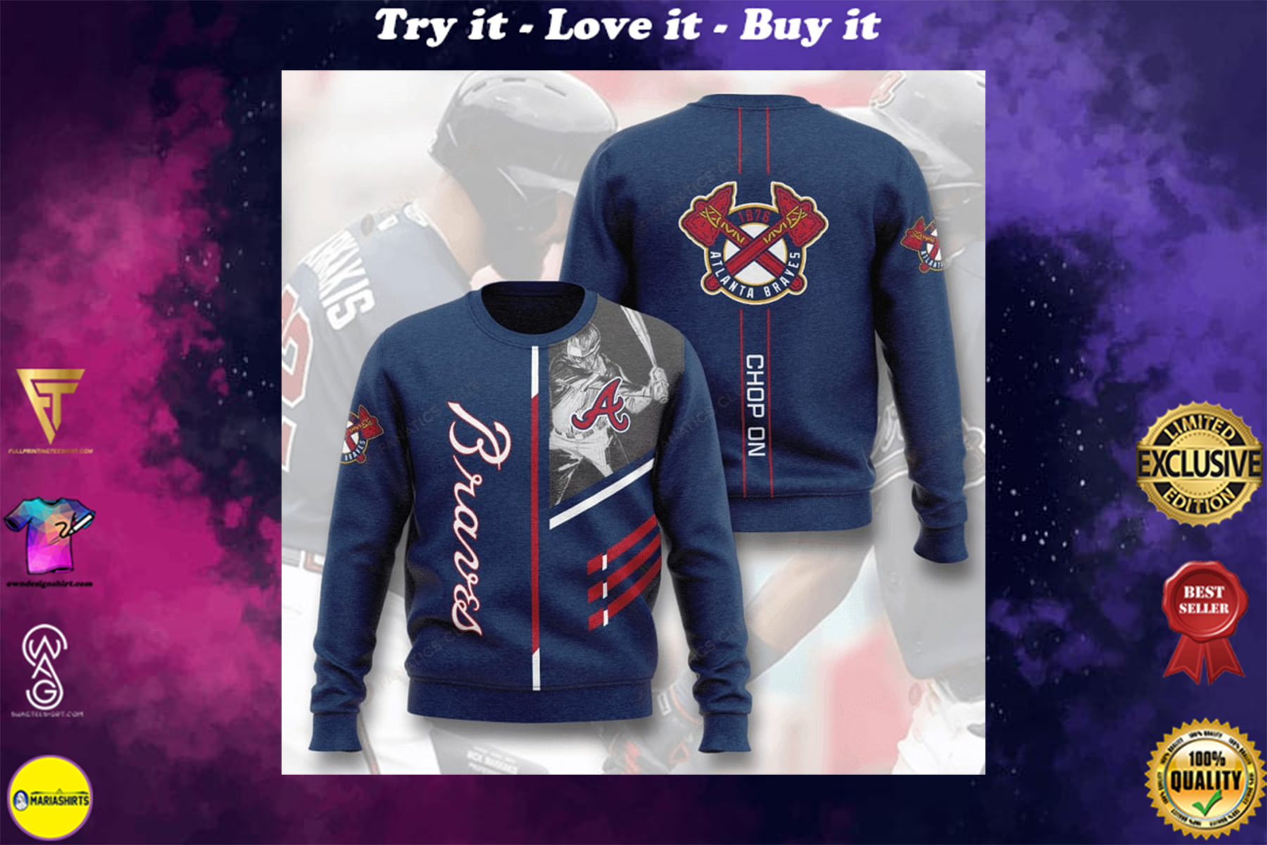 [special edition] major league baseball atlanta braves chop on full printing ugly sweater - maria