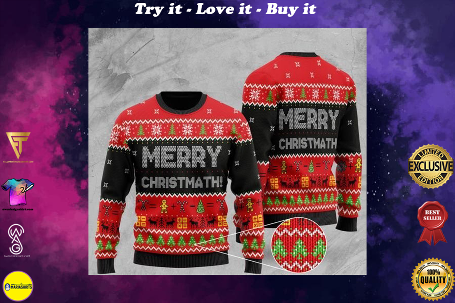 [special edition] merry christmath math christmas ugly sweater - maria
