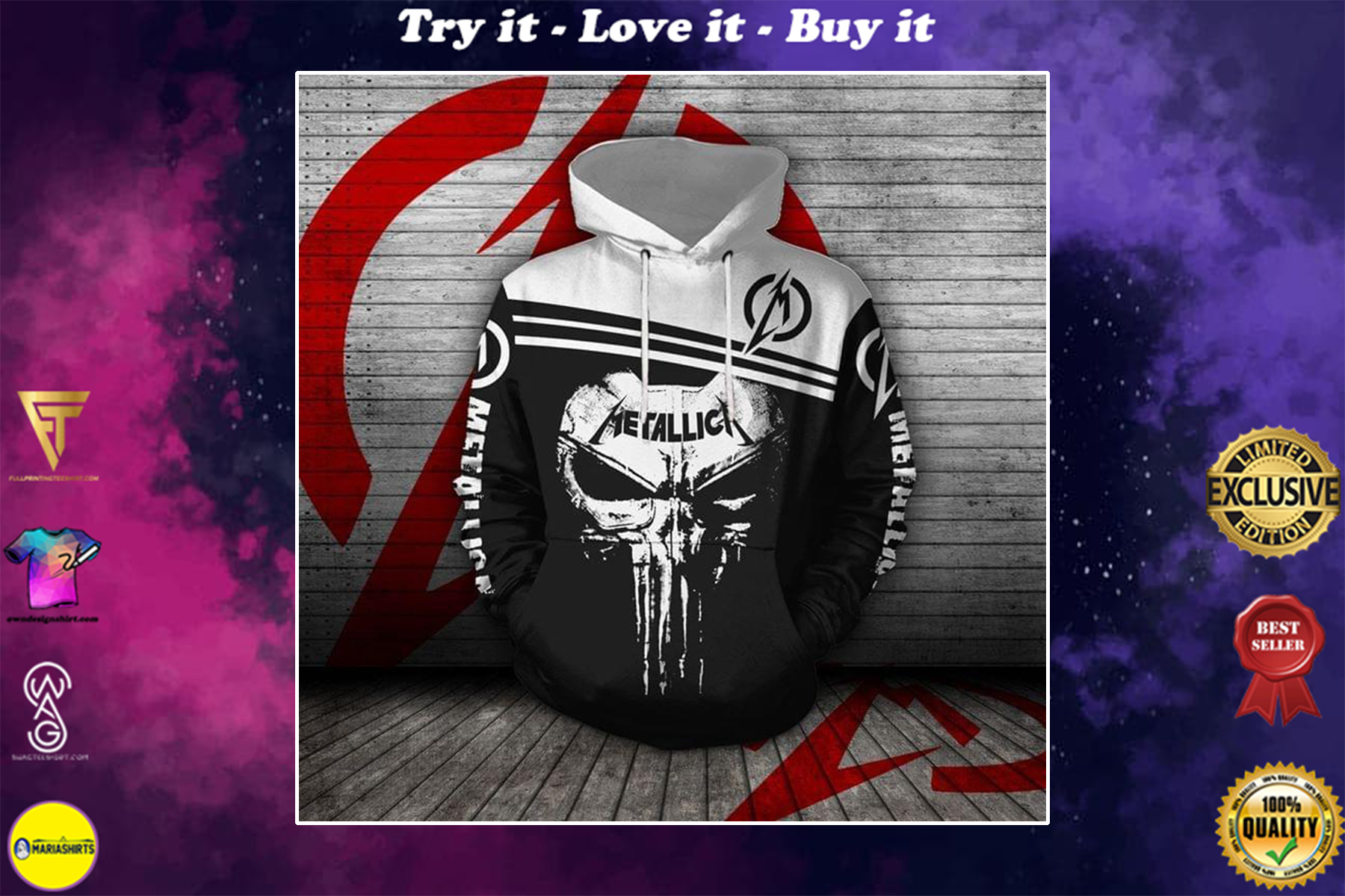 [special edition] metallica rock band skull punisher full over printed shirt - maria