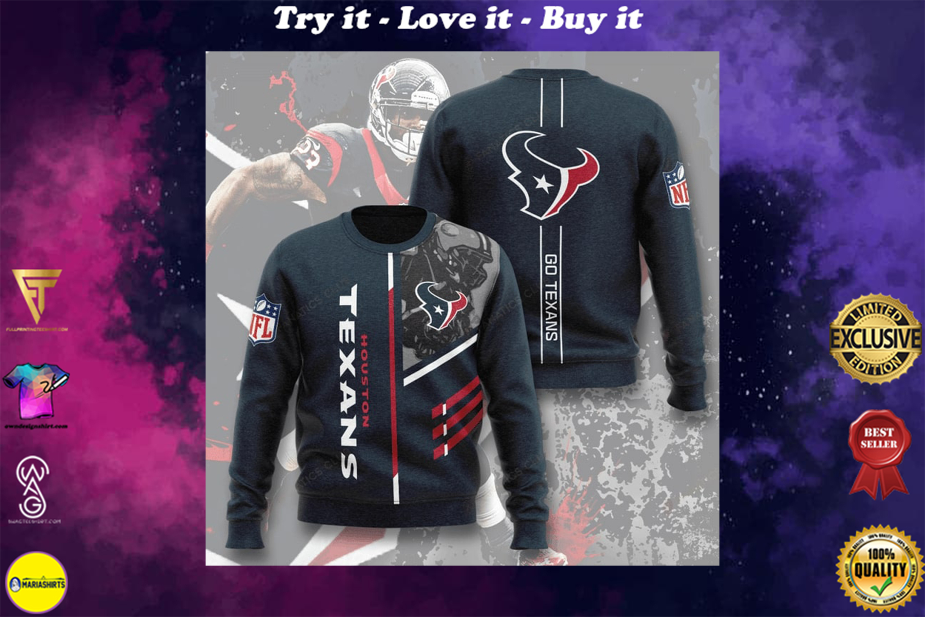 [special edition] national football league houston texans go texans full printing ugly sweater - maria