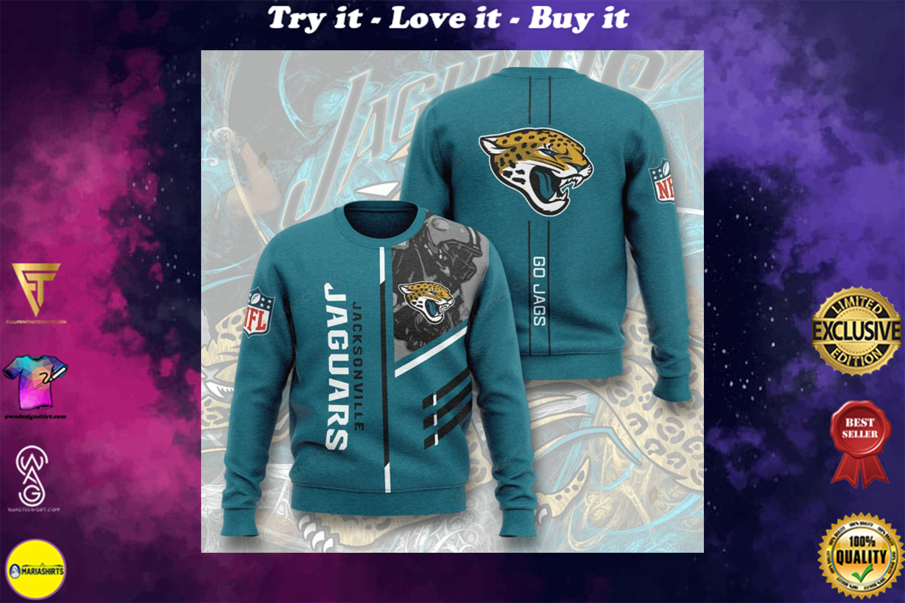 [special edition] national football league jacksonville jaguars go jags full printing ugly sweater - maria