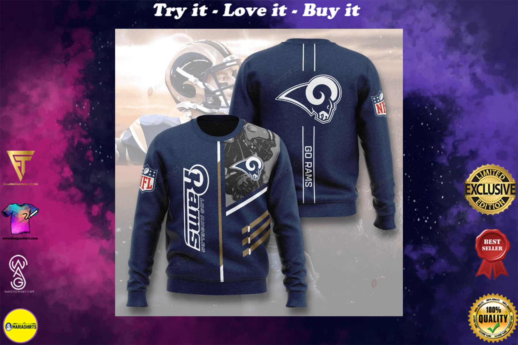 [special edition] national football league los angeles rams go rams full printing ugly sweater - maria
