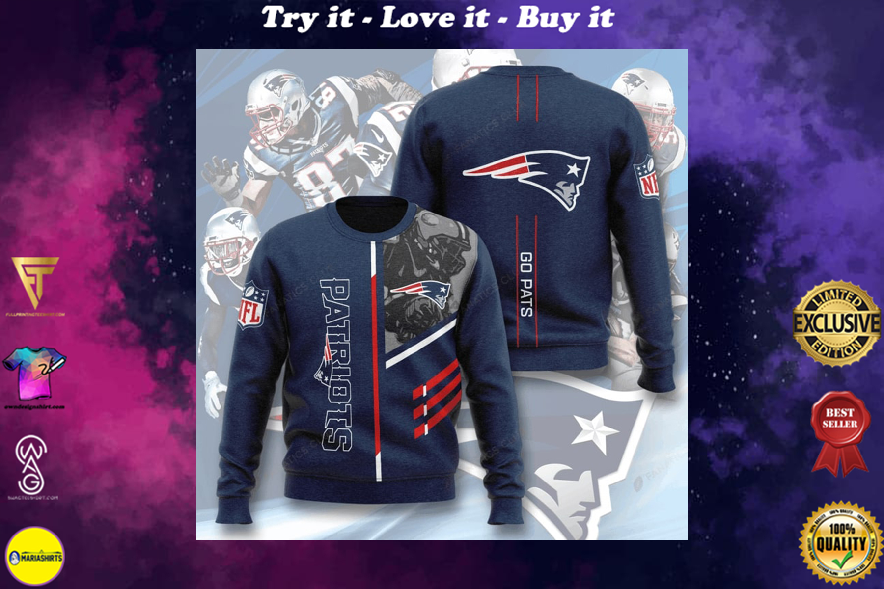 [special edition] national football league new england patriots go pats full printing ugly sweater - maria