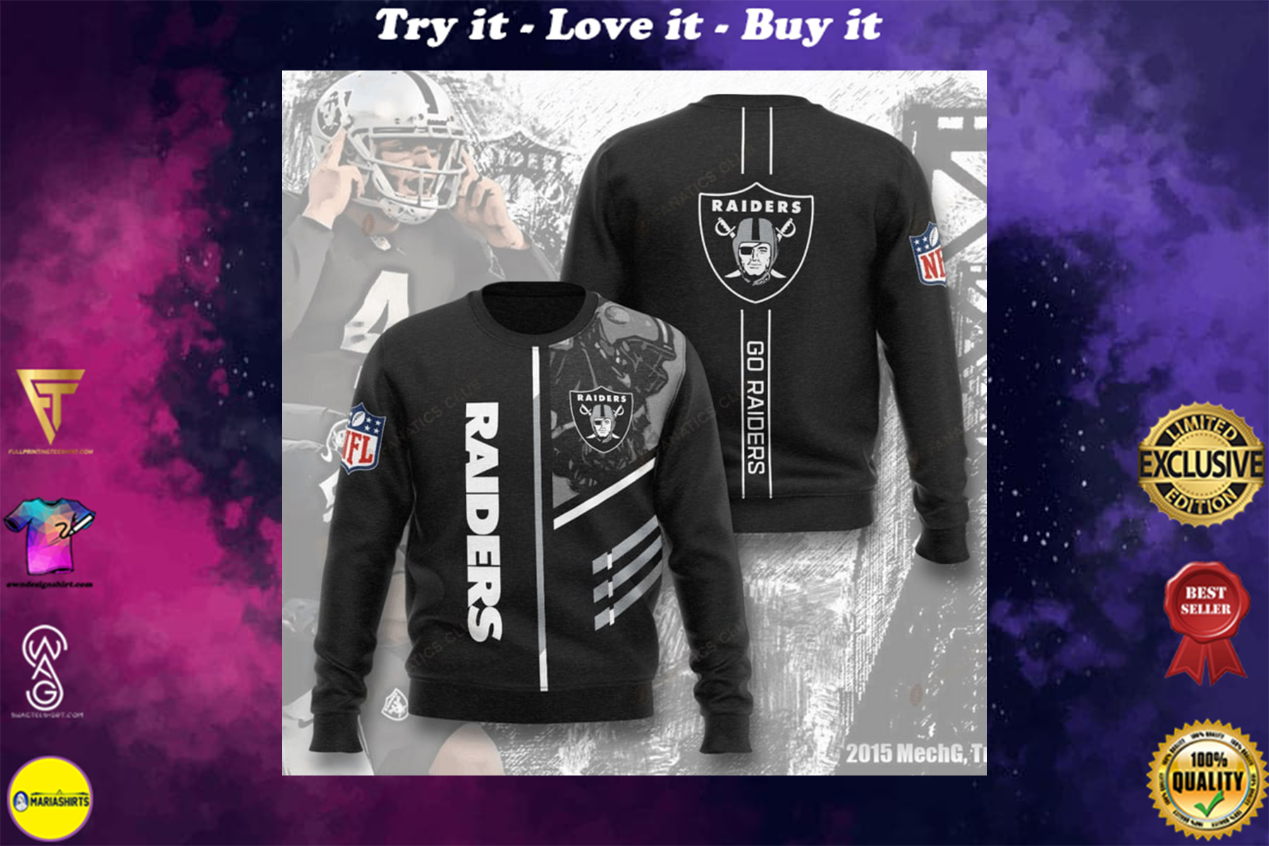 [special edition] national football league oakland raiders go raiders full printing ugly sweater - maria