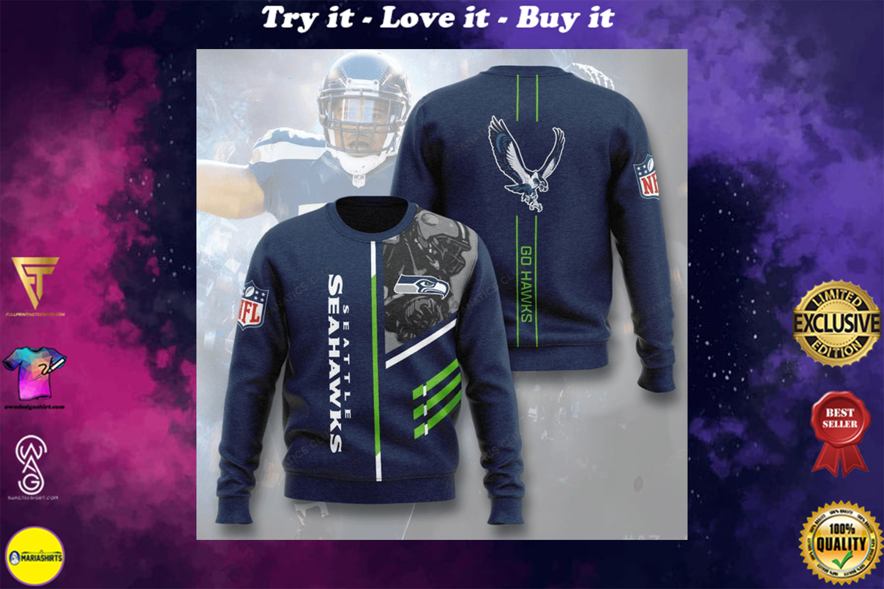 [special edition] national football league seattle seahawks go hawks full printing ugly sweater - maria