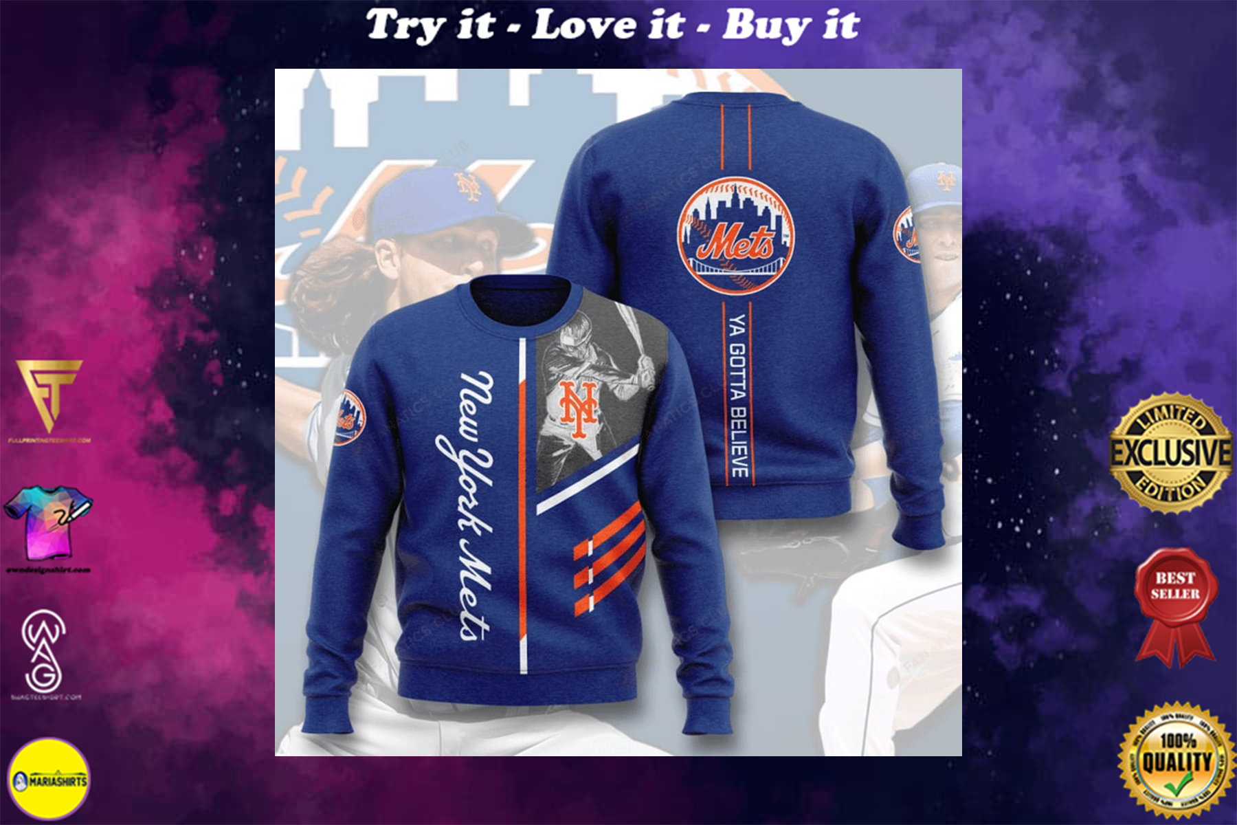 [special edition] new york mets ya gotta believe full printing ugly sweater - maria