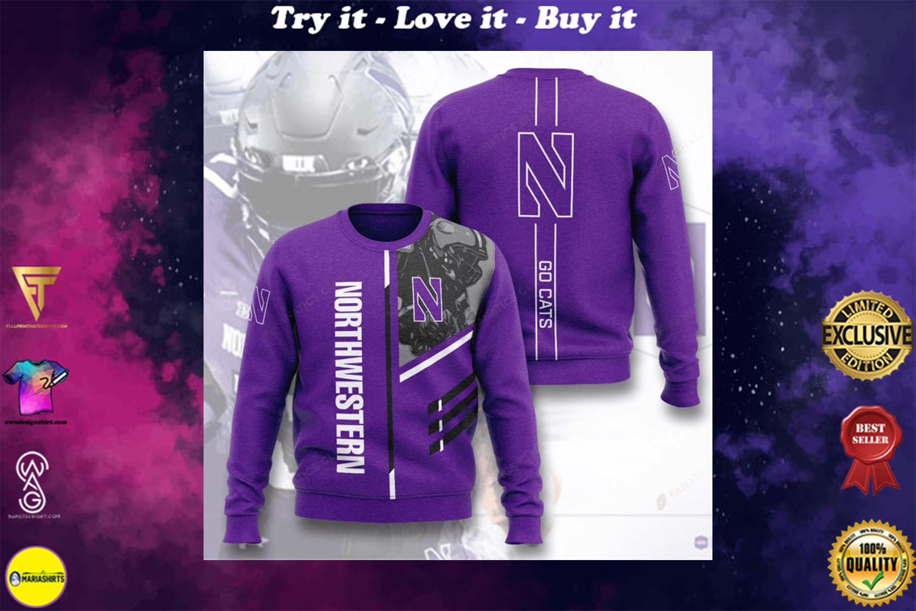 [special edition] northwestern wildcats football go cats full printing ugly sweater - maria