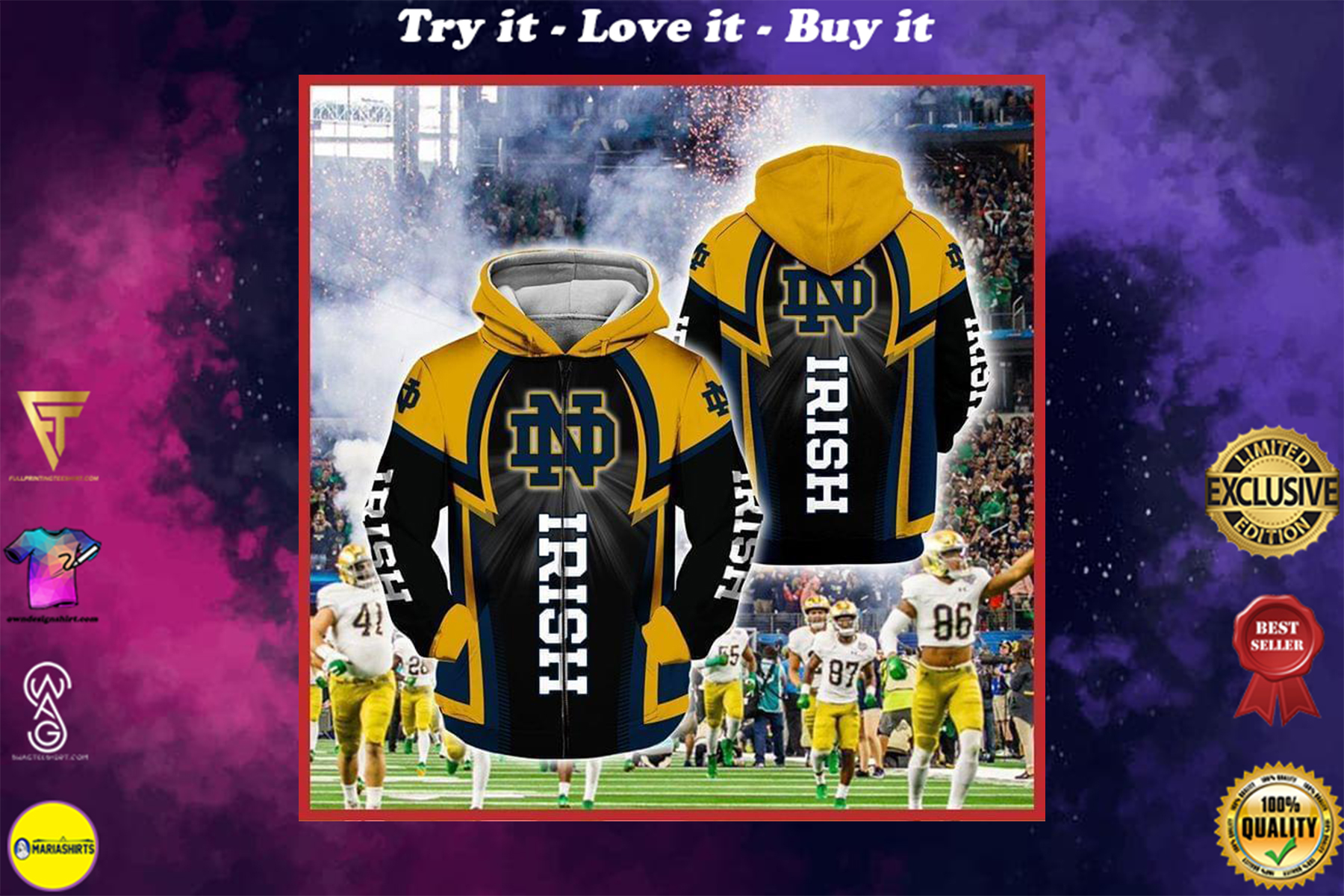 [special edition] notre dame fighting irish football full over printed shirt - maria