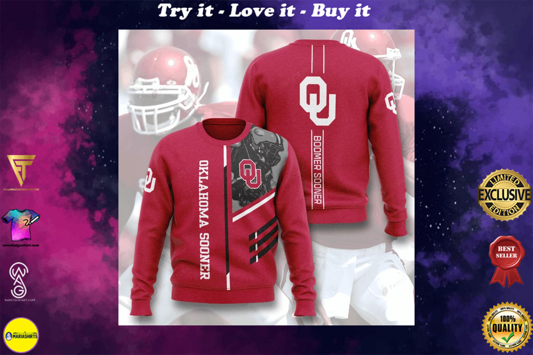 [special edition] oklahoma sooners boomer sooner full printing ugly sweater - maria