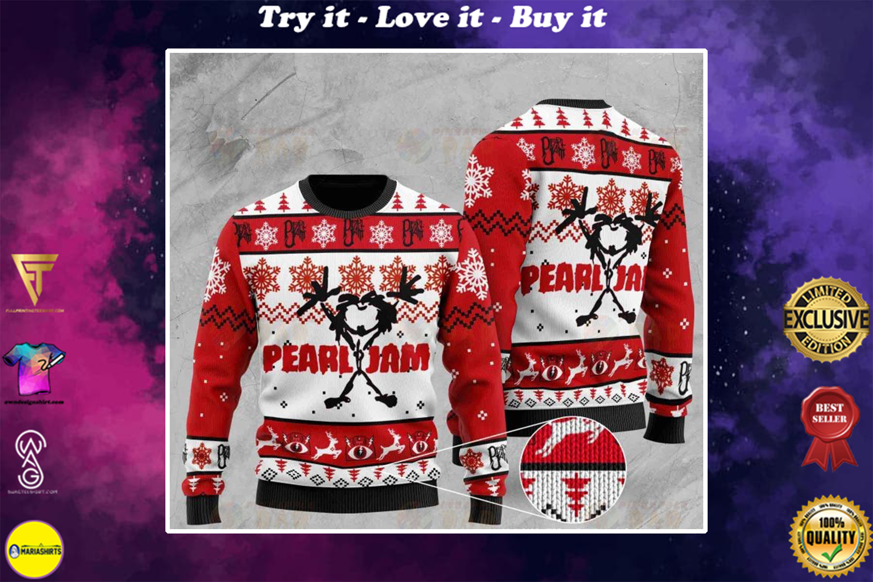 [special edition] pearl jam rock band all over printed ugly christmas sweater - maria