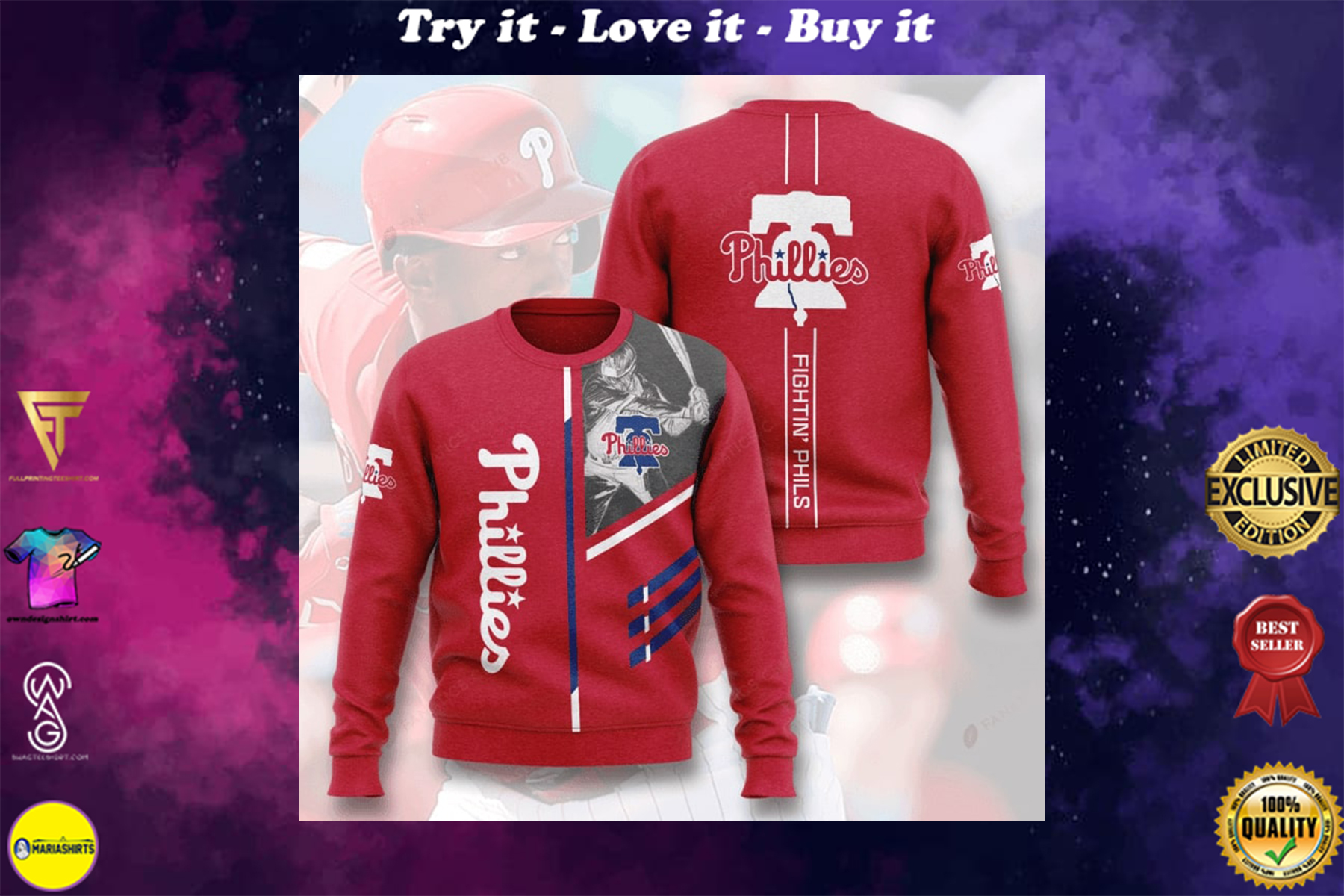 [special edition] philadelphia phillies fightin phils full printing ugly sweater - maria
