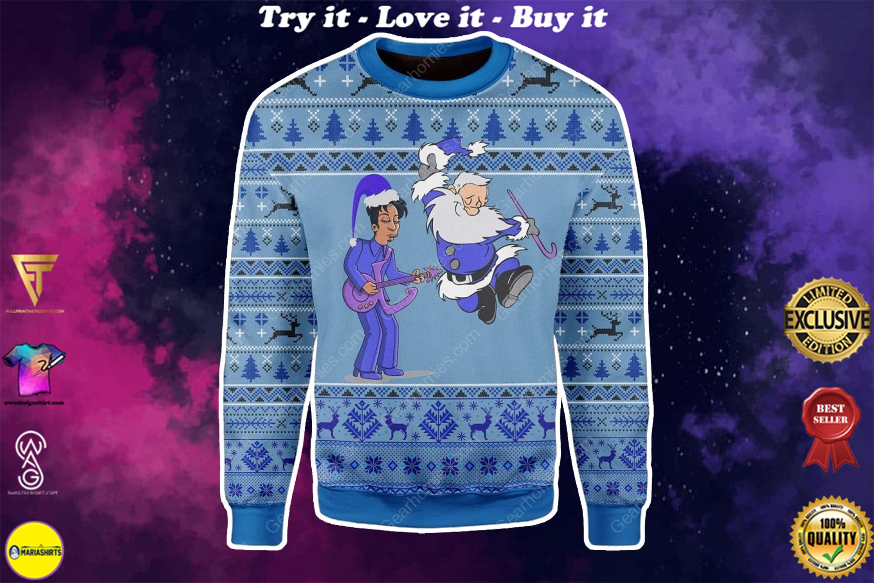 [special edition] prince rogers nelson and santa claus all over printed ugly christmas sweater - maria