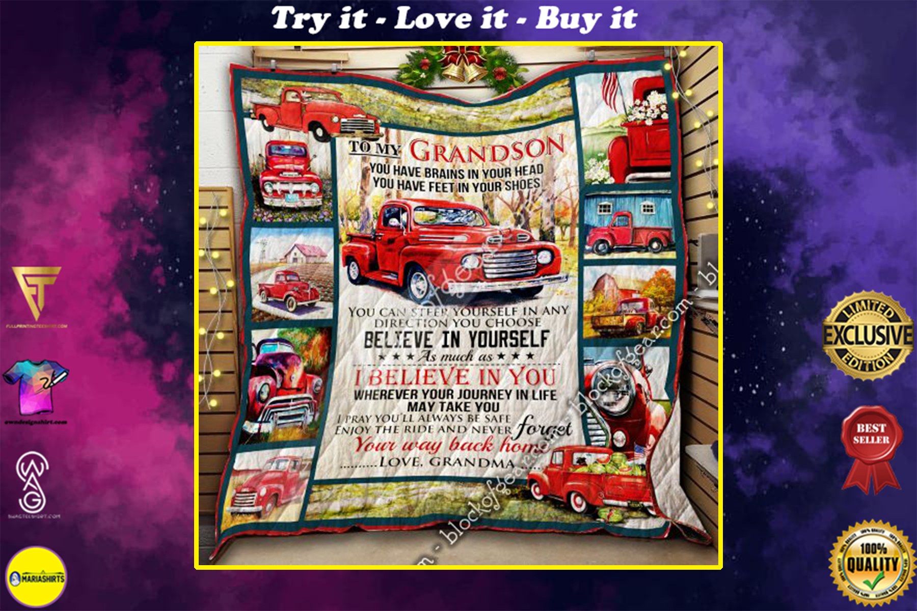 [special edition] red truck to my grandson i believe in you and never forget your way back home your grandma quilt - maria