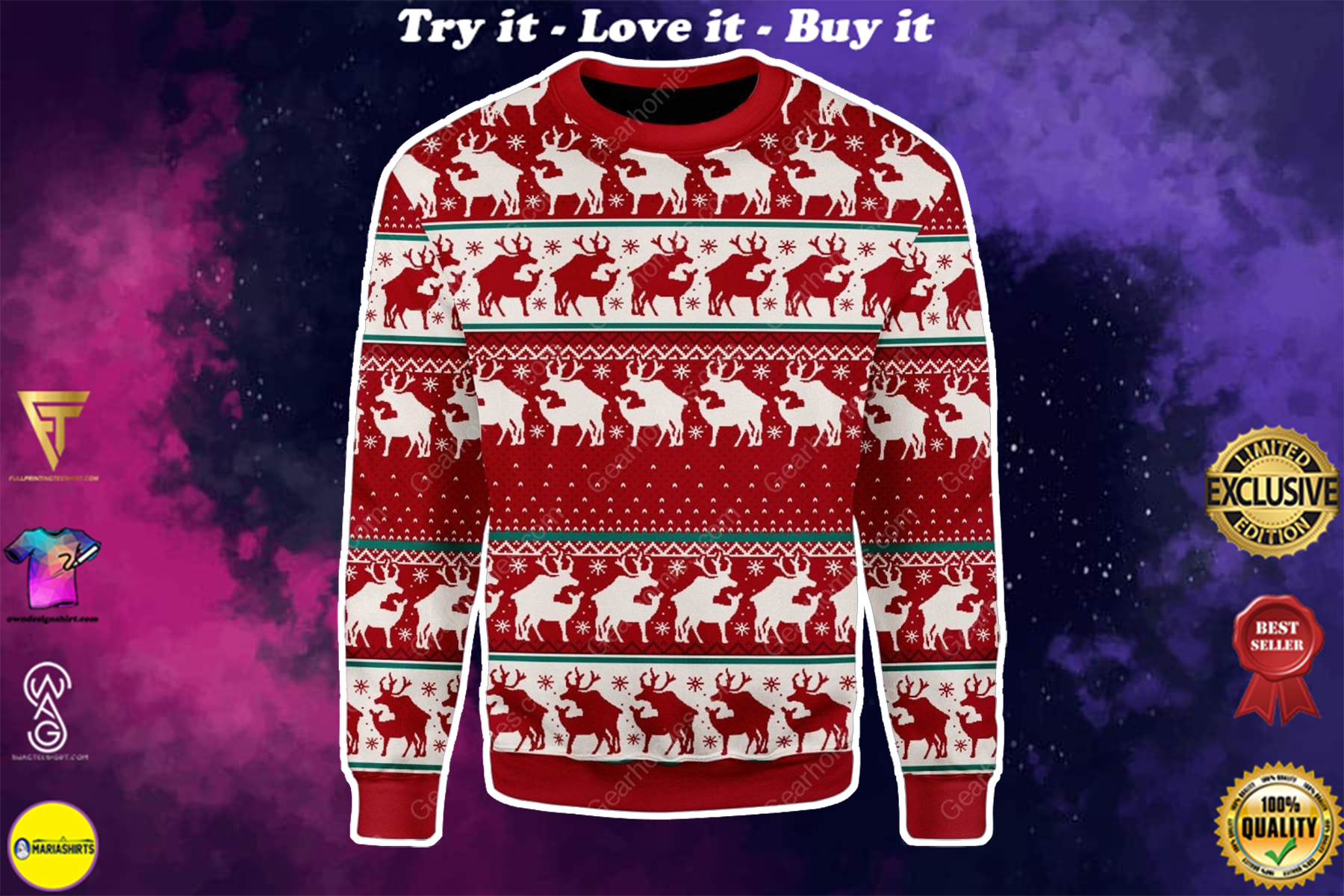 [special edition] reindeer all over printed ugly christmas sweater - maria