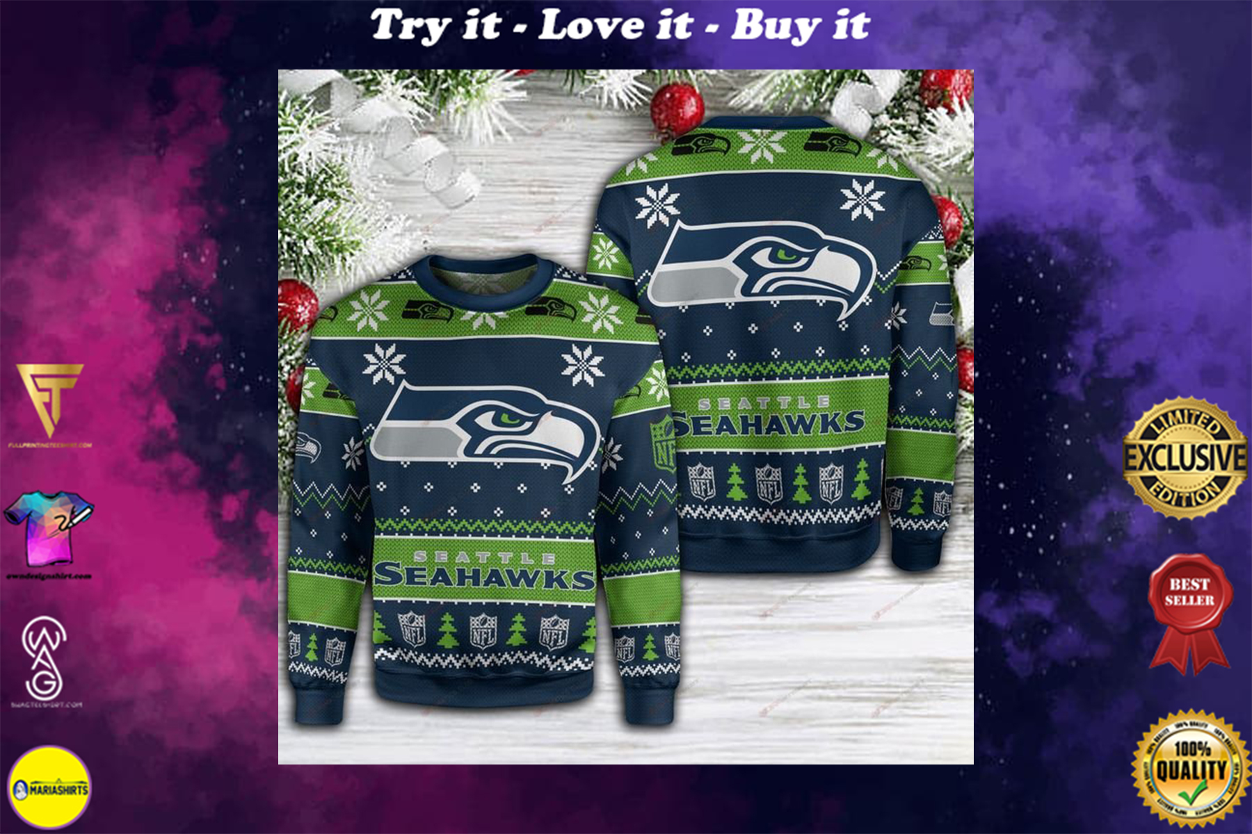 [special edition] seatle seahawks football full printing ugly sweater - maria