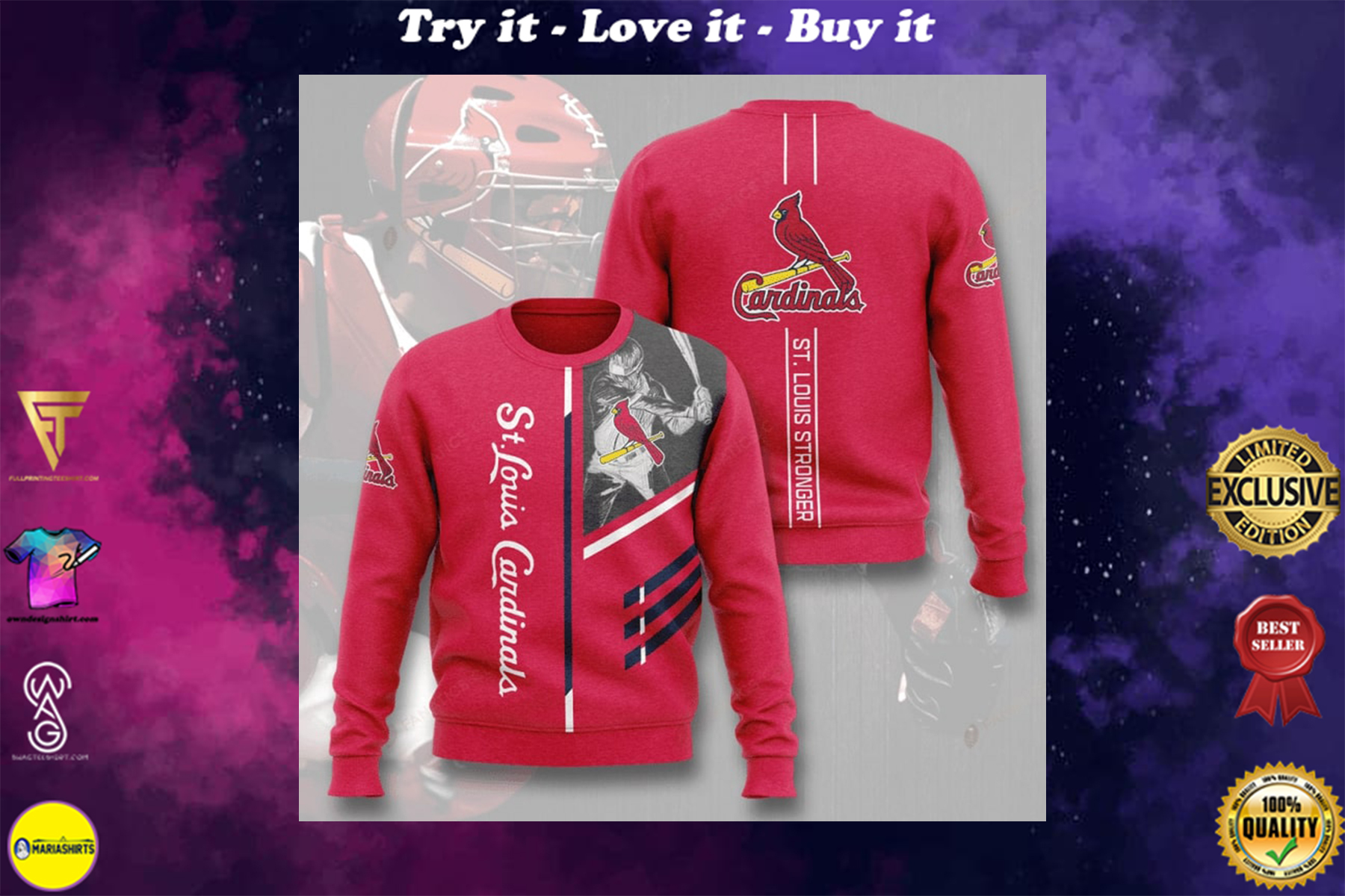 [special edition] st louis cardinals st louis stronger full printing ugly sweater - maria