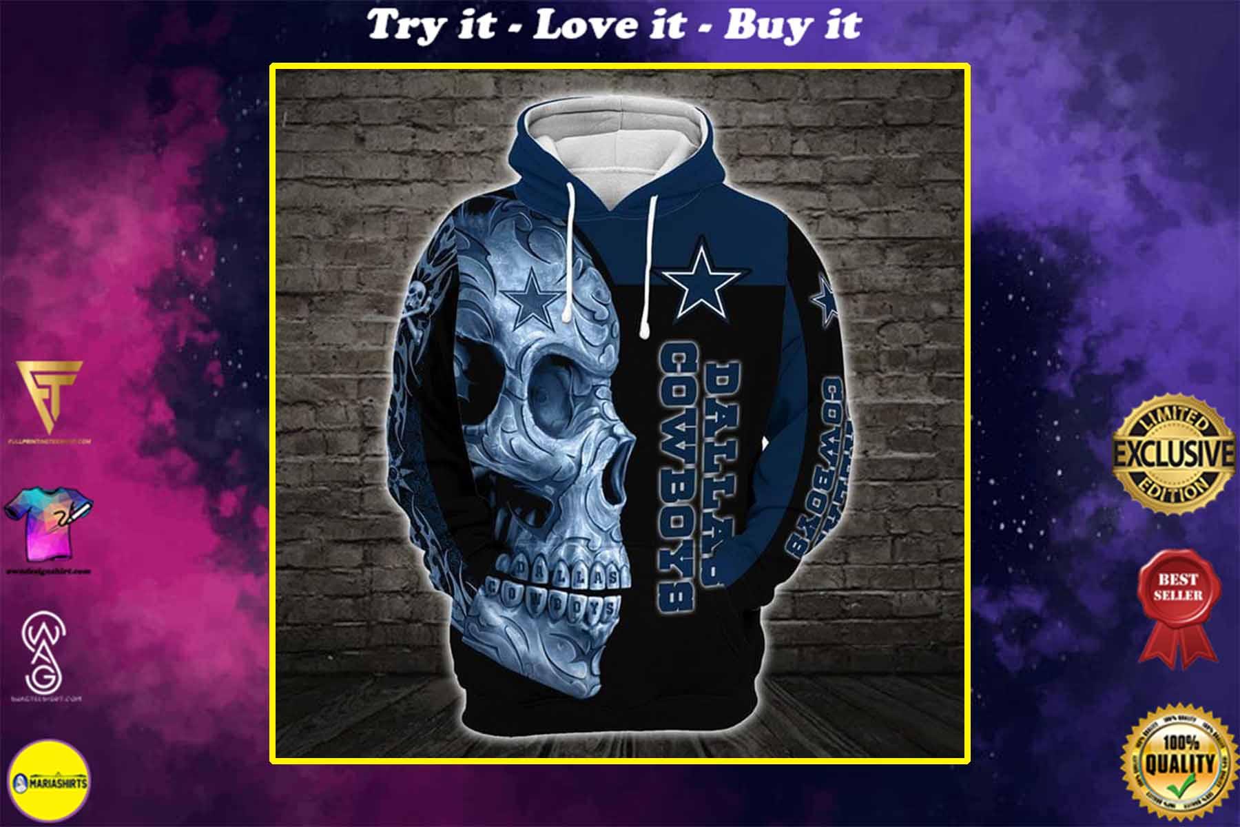 [special edition] sugar skull dallas cowboys football team full over printed shirt - maria