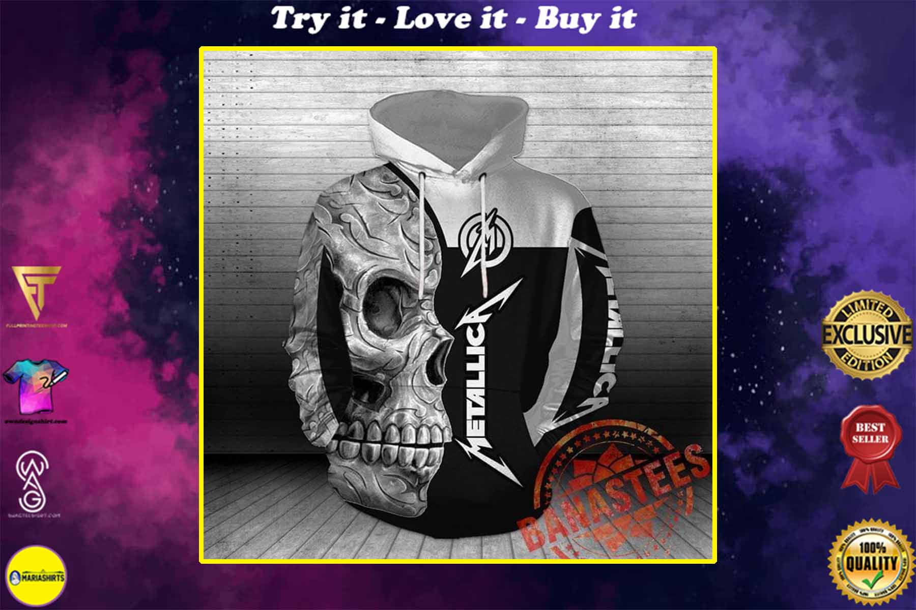 [special edition] sugar skull metallica rock band full over printed shirt - maria