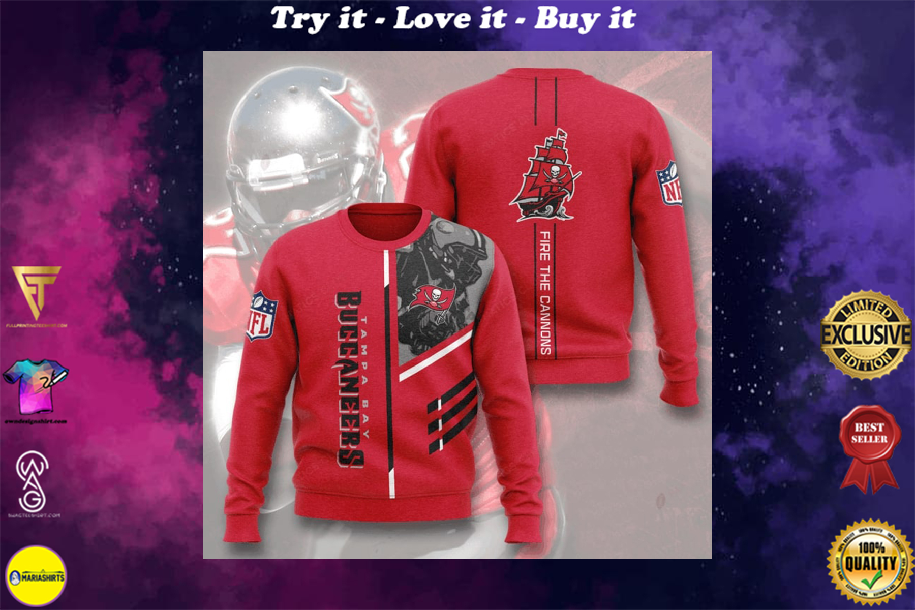 [special edition] tampa bay buccaneers fire the cannons full printing ugly sweater - maria
