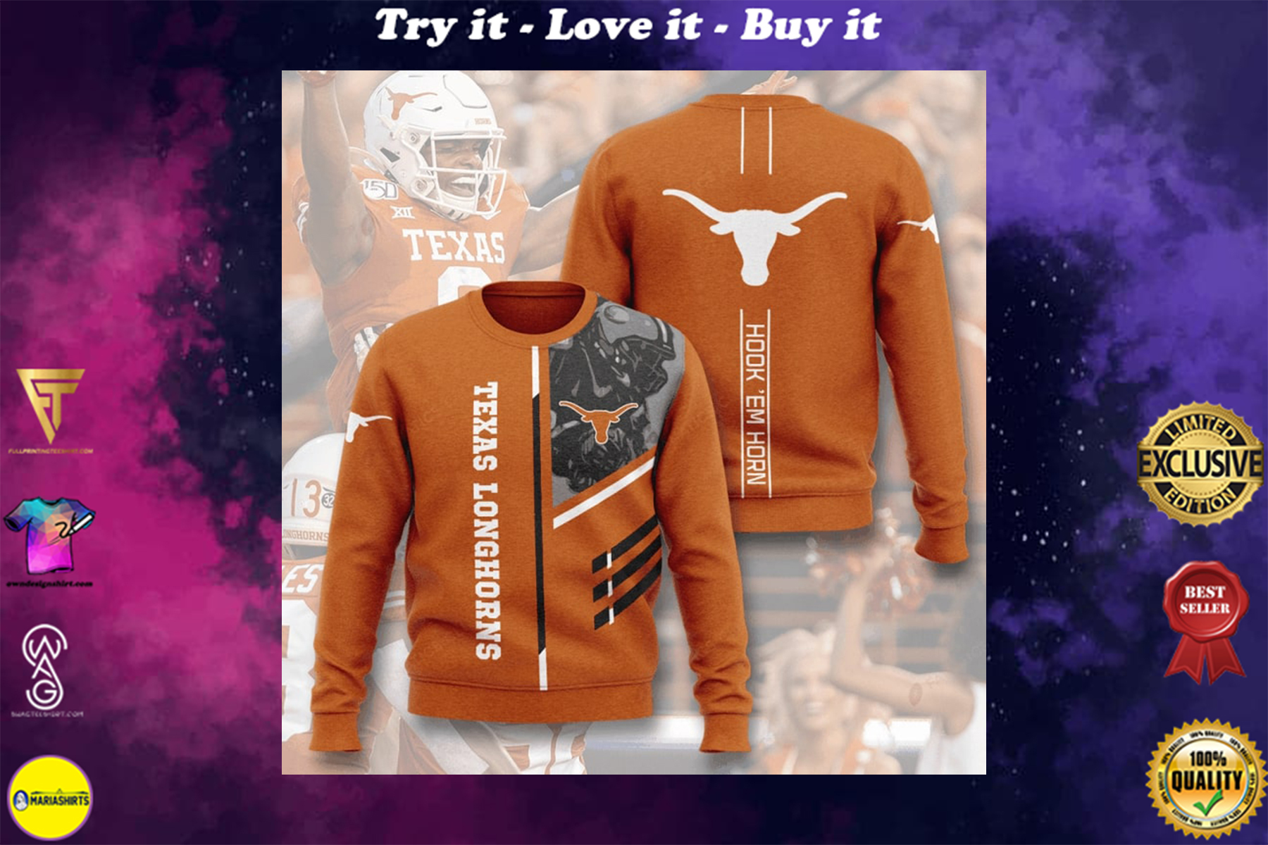[special edition] texas longhorns football hook em horn full printing ugly sweater - maria