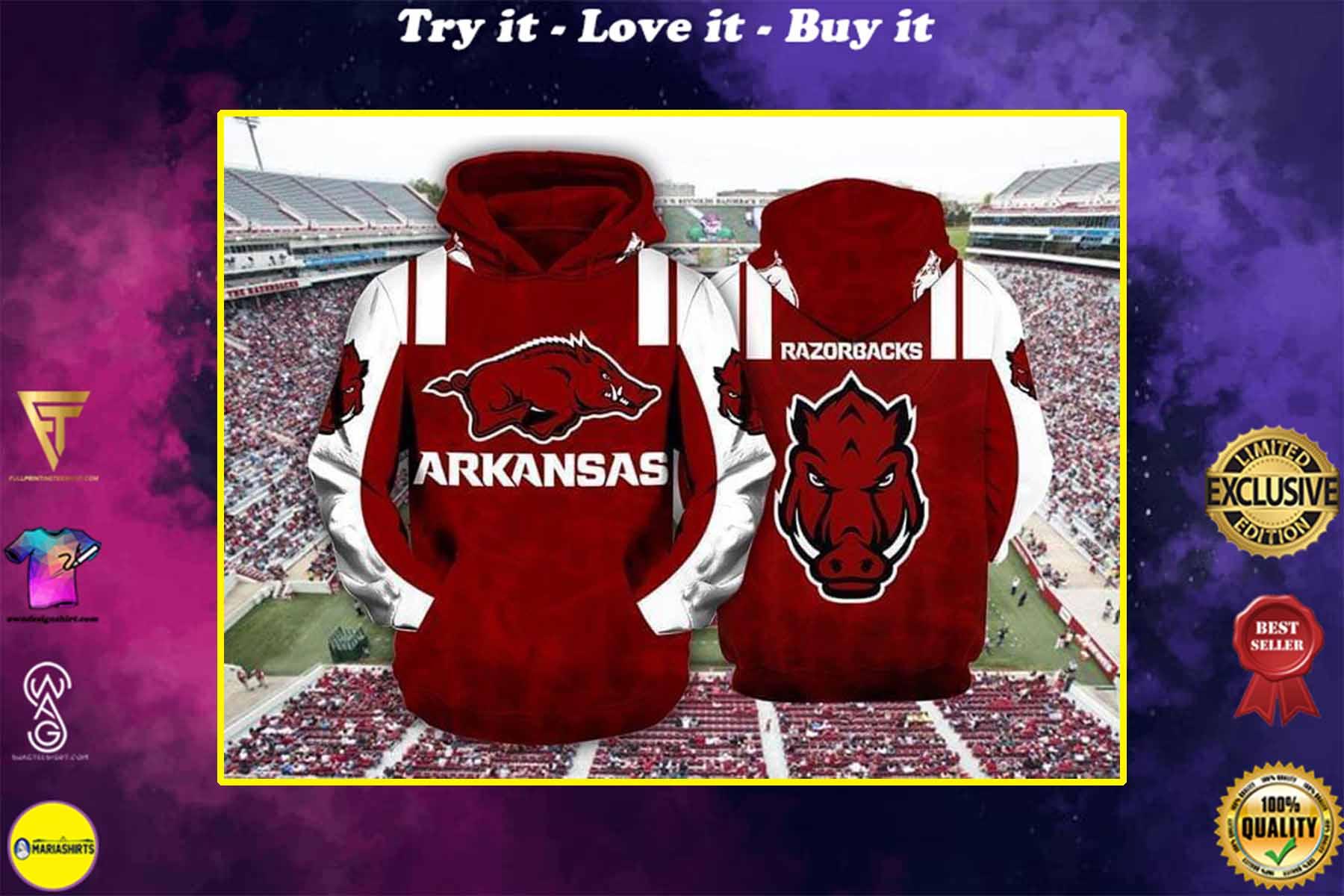 [special edition] the arkansas razorbacks football full over printed shirt - maria