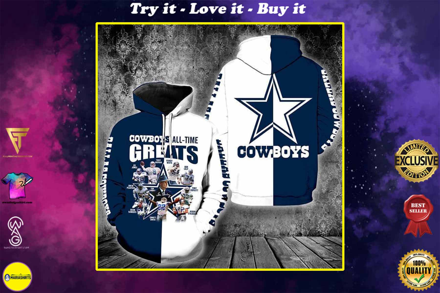 [special edition] the dallas cowboys all time greats full over printed shirt - maria