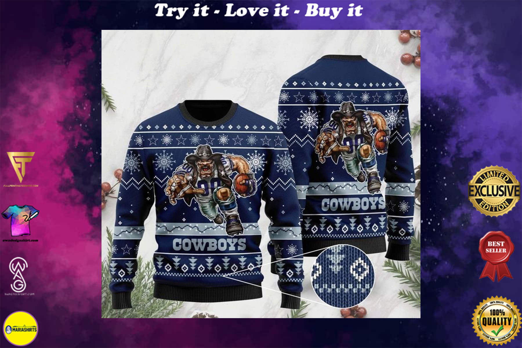 [special edition] the dallas cowboys football team christmas ugly sweater - maria
