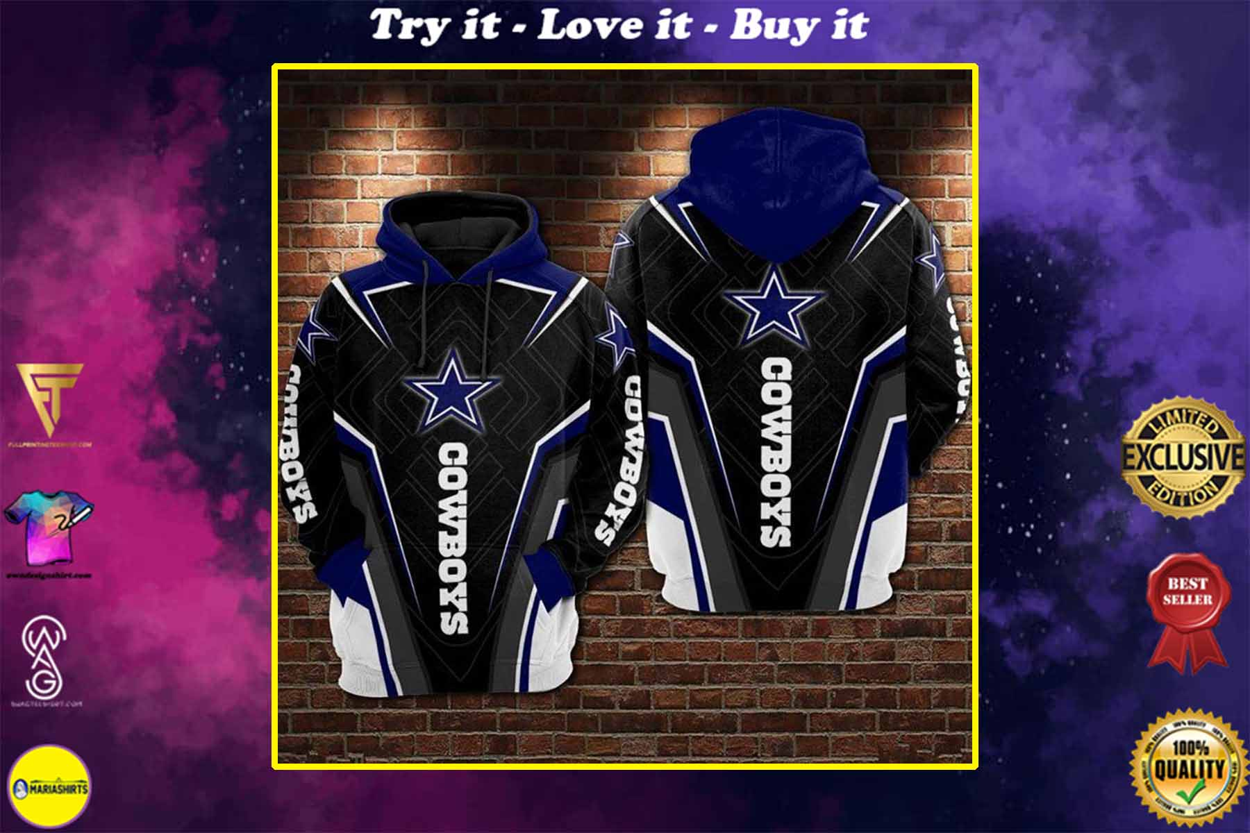 [special edition] the dallas cowboys football team full over printed shirt - maria