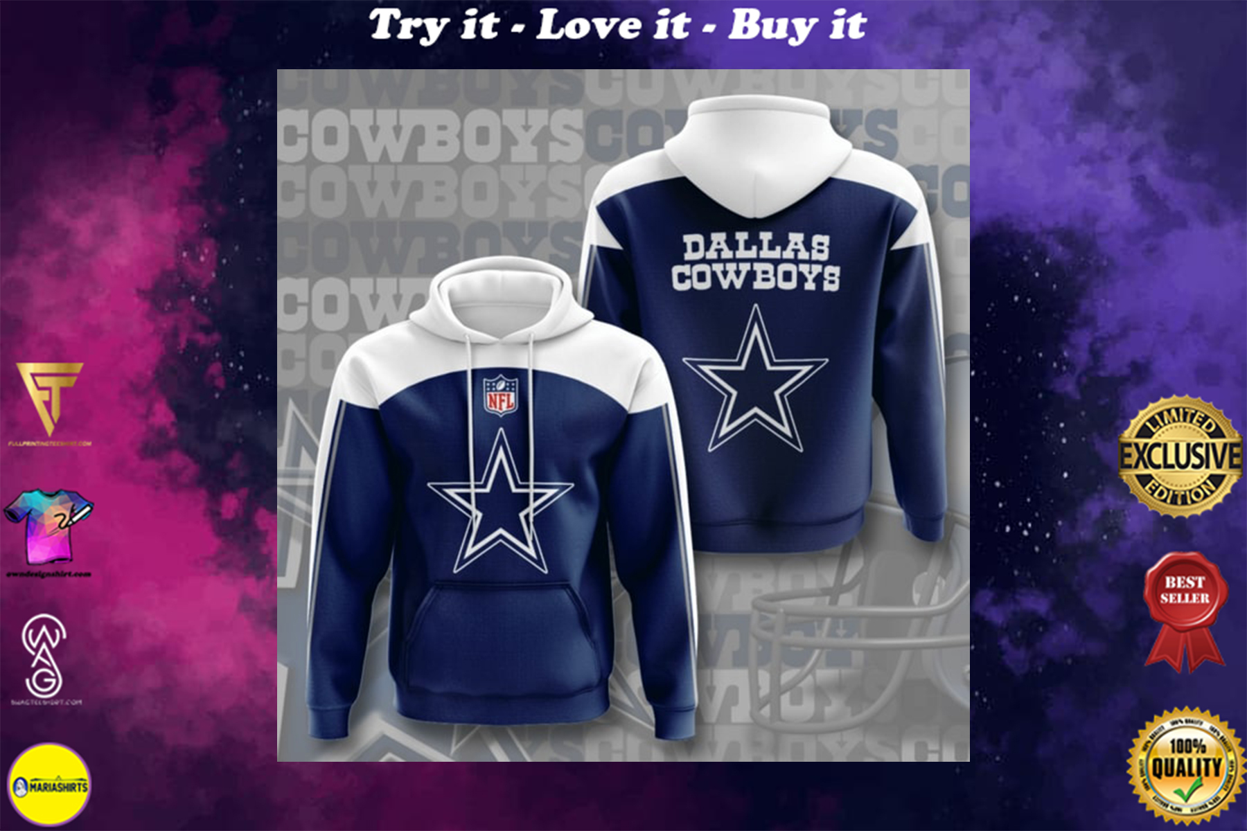 [special edition] the dallas cowboys football team full printing shirt - maria