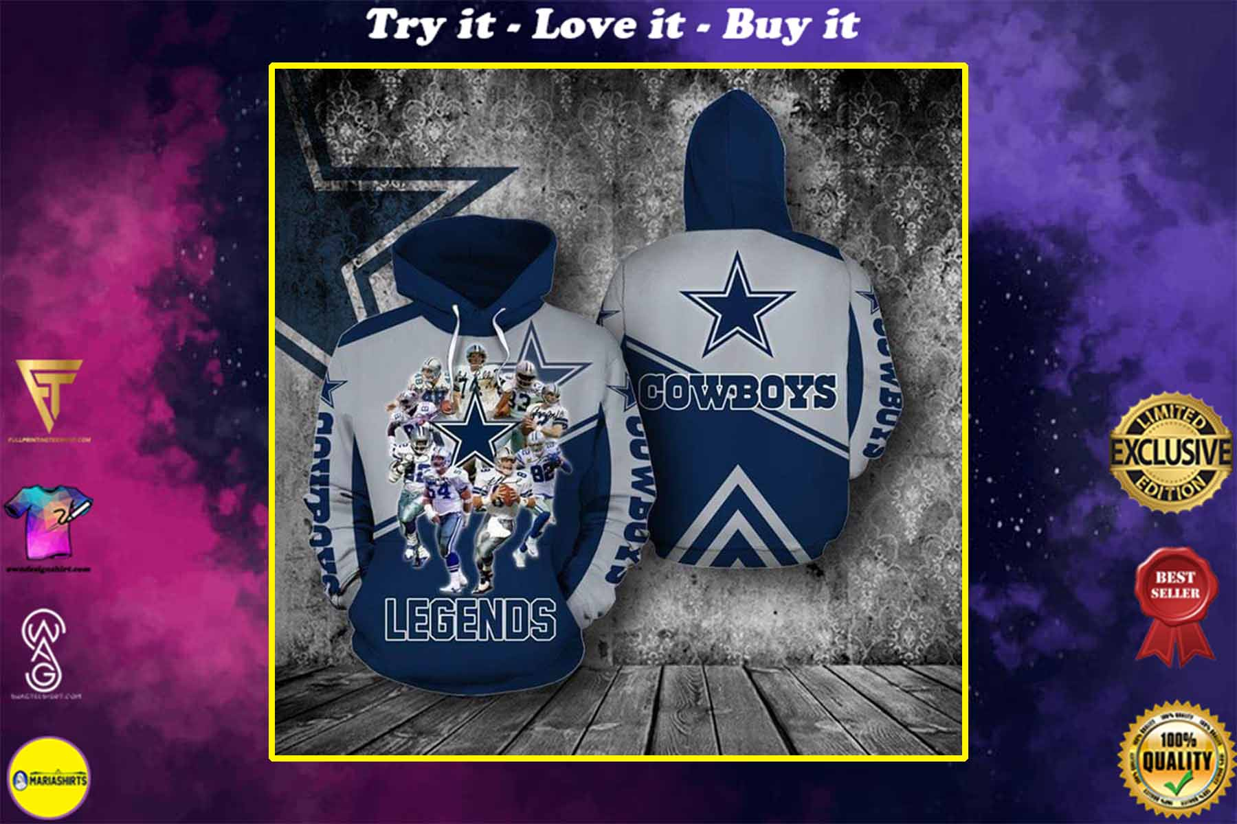 [special edition] the dallas cowboys legends members full over printed shirt - maria