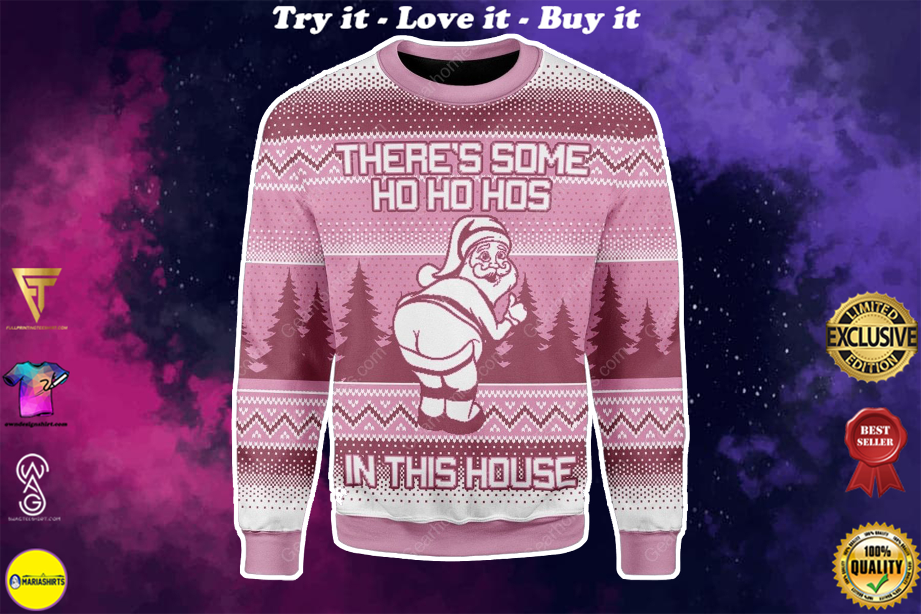 [special edition] theres some ho ho hos in this house santa claus all over printed ugly christmas sweater - maria