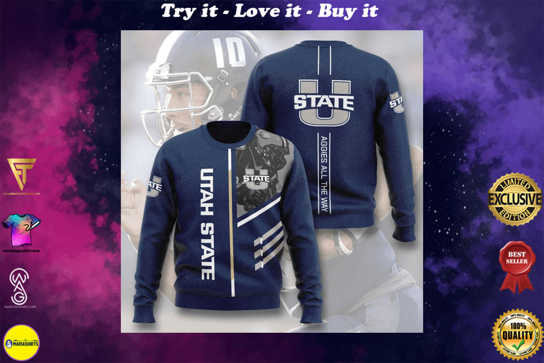 [special edition] utah state aggies football aggies all the way full printing ugly sweater - maria