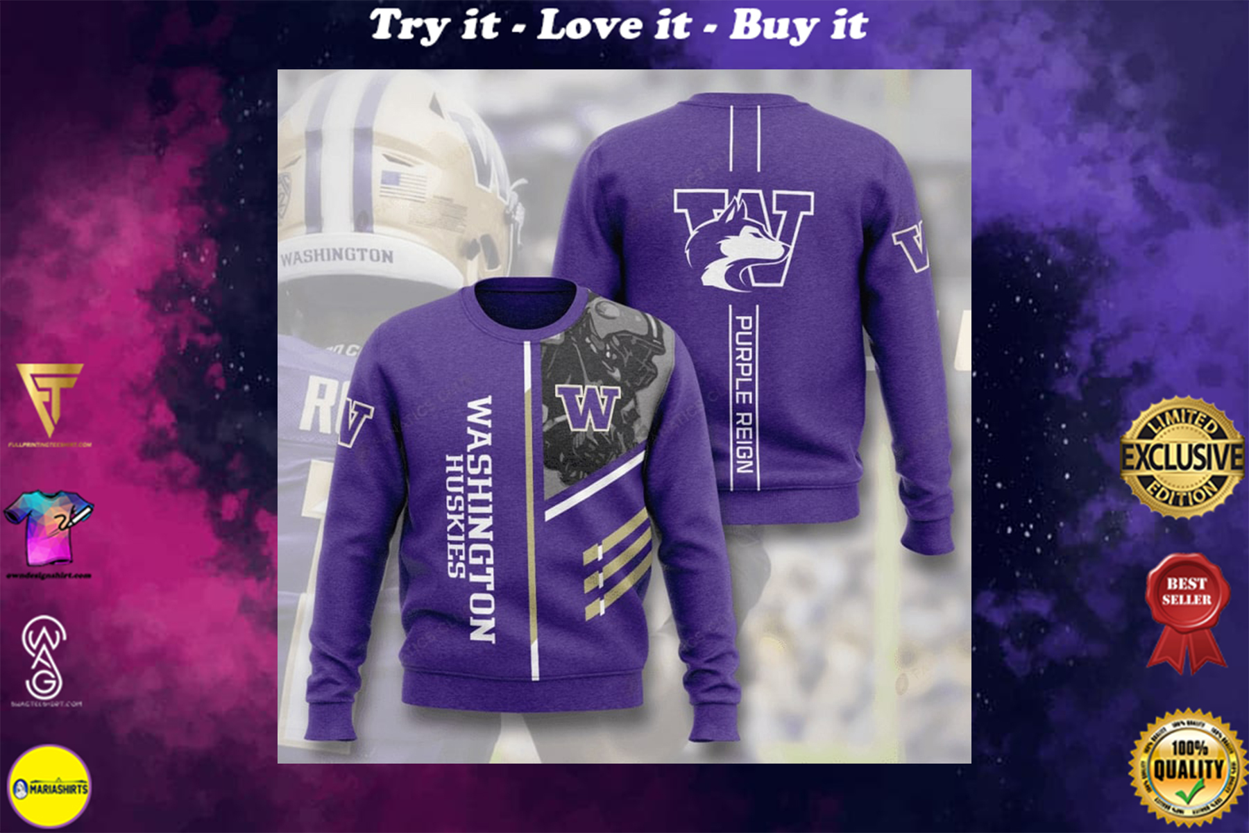 [special edition] washington huskies football purple reign full printing ugly sweater - maria