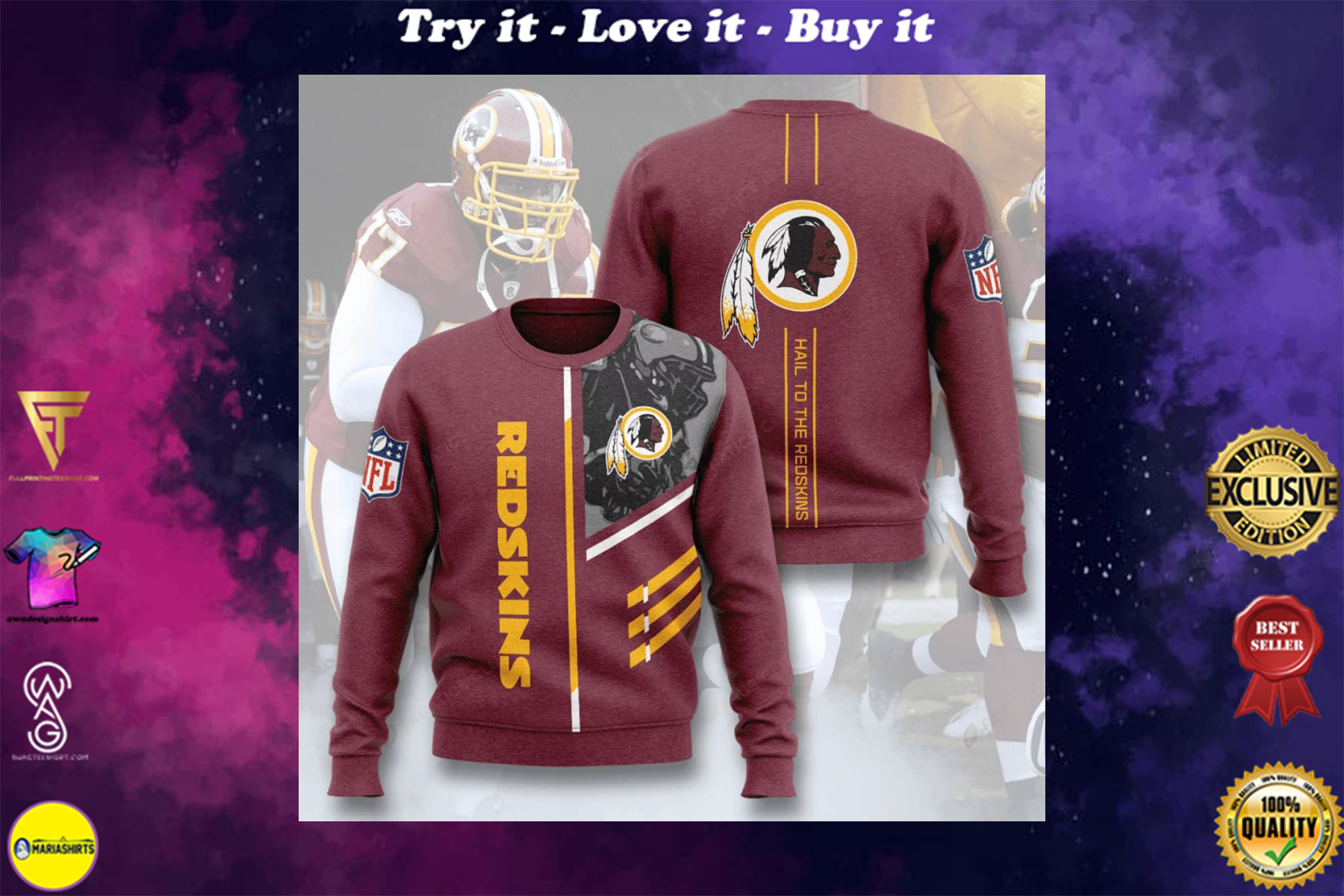 [special edition] washington redskins hail to the redskins full printing ugly sweater - maria