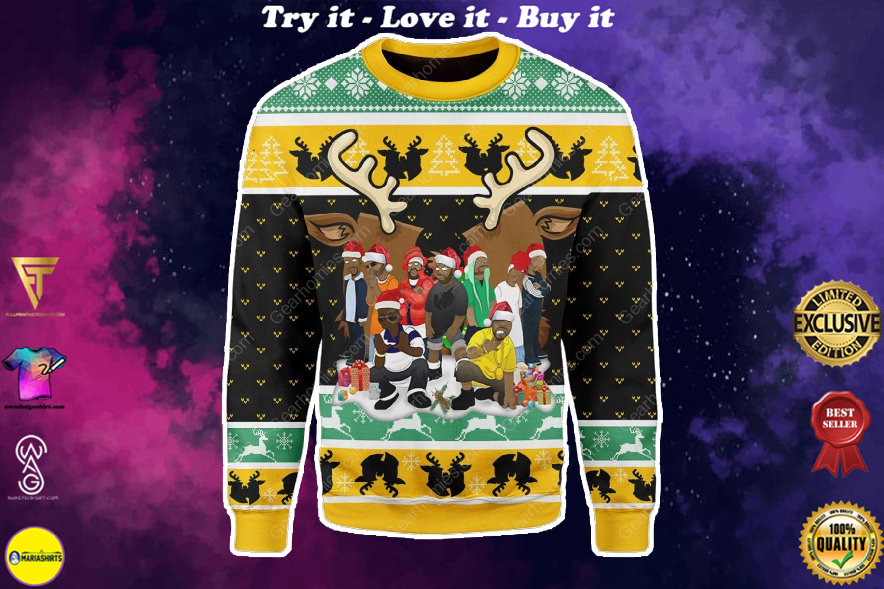 [special edition] wu-tang clan all over printed ugly christmas sweater - maria