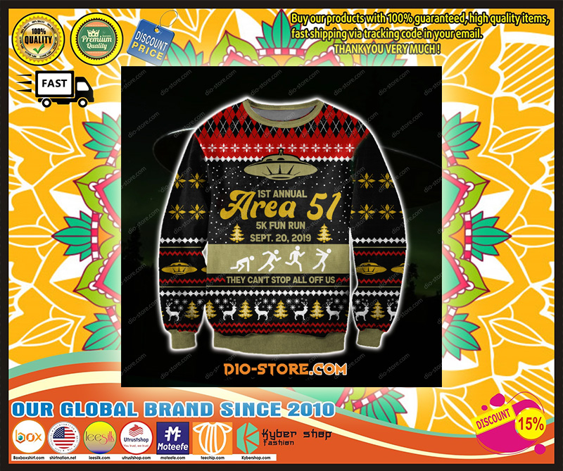AREA 51 3D KNITTING PATTERN PRINT UGLY CHRISTMAS SWEATER