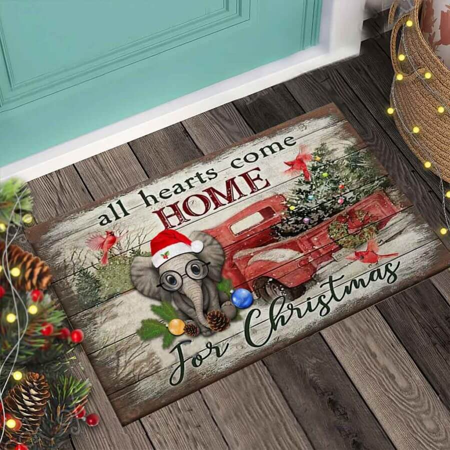All Hearts Come Home For Christmas – Elephant Doormat
