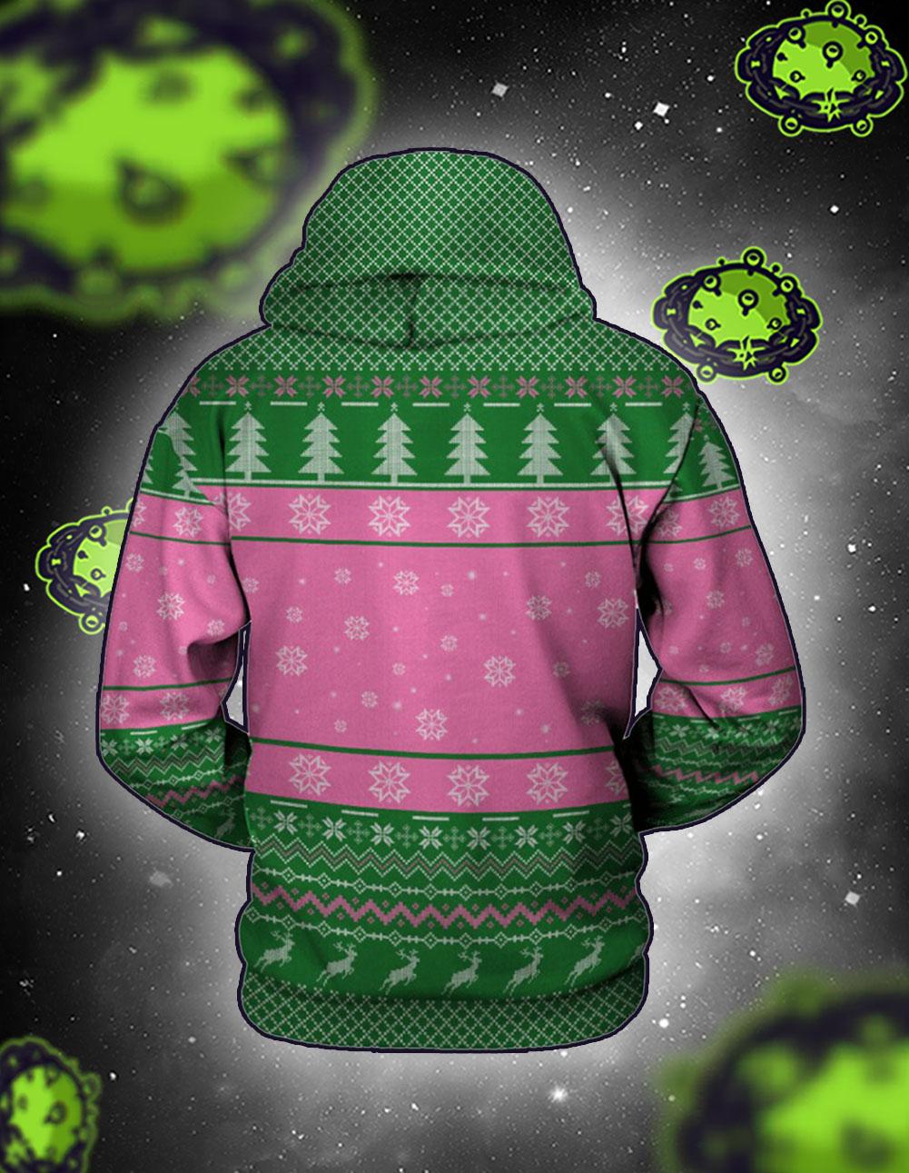 Alpha kappa alpha 3d all over printed Alpha christmas hoodie back