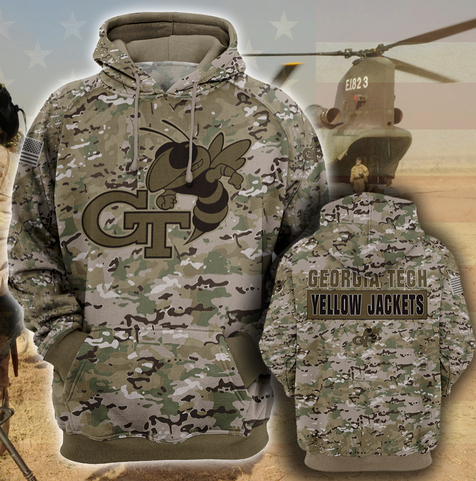 Army camo Georgia Tech Yellow all over printed 3D hoodie