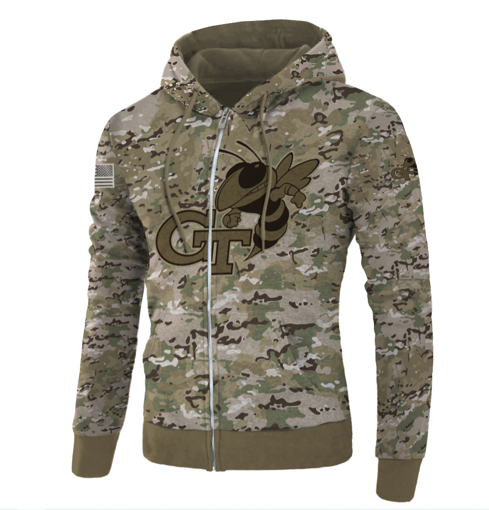 Army camo Georgia Tech Yellow all over printed 3D zip hoodie
